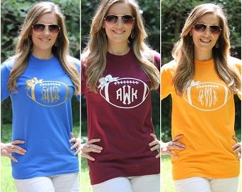 Football Monogram Shirt Short Sleeve Personalized Tee - 20 Tee Color choices! Cheer for your own team!
