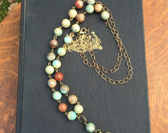 Boho beaded long necklace, jasper beads