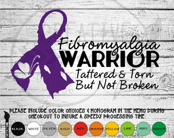 Fibromyalgia Warrior - Awareness - Vinyl Decal Sticker - Available in variety of sizes and colors