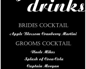 Custom Signature Drink Sign Digital Download