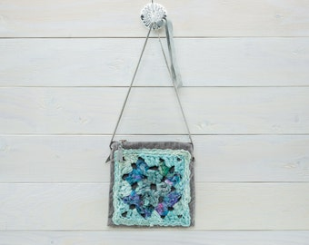 Crochet Cross Body Bag, Festival Fashion, Sari Silk, Bohemian Style, Blue and Turquoise