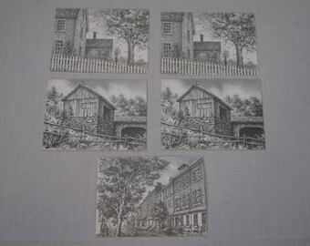 Vintage 1970's - Blank Greeting Card Paper March of dimes, set of 5, Grayson pencil drawings
