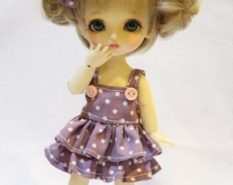 Purple and White Polka dot Dress With Bow For Lati Yellow / Pukifee Outfit #L013