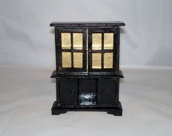 Mini Black Hutch with bottom cabinet