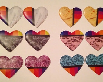 Native Epoxy Cabs Hearts- glitter