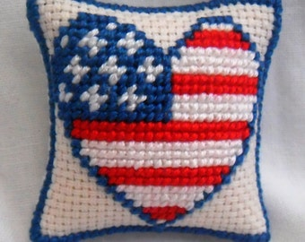 Hand Stitched Dolls House Cushions Cross Stitch 1/12th scale Love USA Design