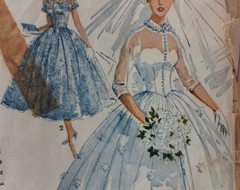 Simplicity 4697 vintage 1950's misses bridal gown & bridesmaid dress sewing pattern size 13 bust 31