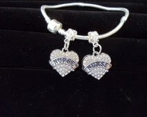 Crystal Heart Nurse Charm Fits Pandora Style jewelry  This is the charm only