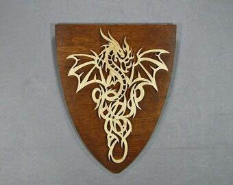 Dragon on Shield  wall decor  hanging dragon scroll saw fretwork  plaque in maple wood