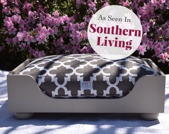 Wood Dog Bed || As Seen in Southern Living Magazine || Medium Large || Stylish Wooden Beautiful Dog Bed || Custom Pillow ||  Any Color