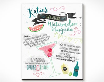 Signature Drink Recipe Print or Sign Customized for YOU! Perfect Gift Idea. Custom Prints!