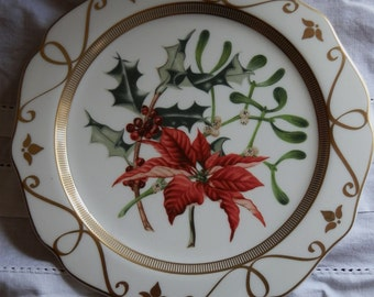 Vintage Marks & Spencer Poinsettia, Holly and Mistletoe Christmas Plate