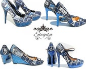 Galaxy Far Far Away Glitter Heels- Choose Your Shoe Style- Wedding Shoes- Geek-Bride- Bridal Shoes- Prom-Graduation- Gift- Custom