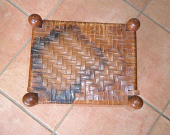 Antique Small Stool with Woven Top for Foot Rest or Child Seating