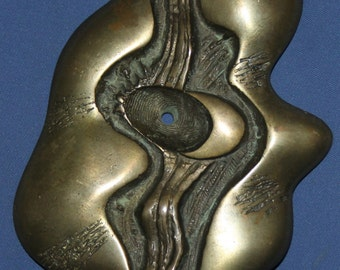 Vintage Hand Made Bronze Abstract Statuete With Marble Base