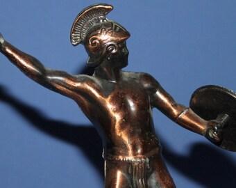 Vintage Hand Made Metal Roman / Byzantine Warrior Statuette