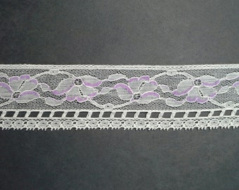 Vintage 2 inch wide netted, off-white and lavender floral peony lace trim- by the yard