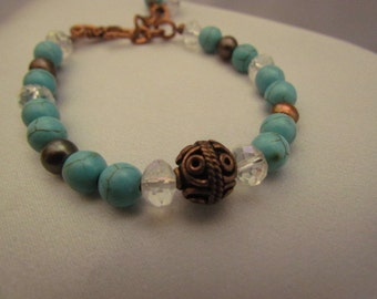 Turquoise Magnasite and Copper Bracelet