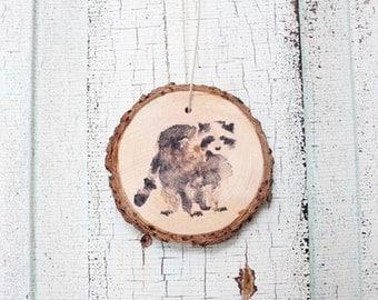 Rascal Raccoon Wood Ornament