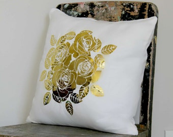 Cluster of Roses Pillow Cover, Mirror gold, gold rose cushion, girls gold bedroom decor, metallic gold pillow, white gold flower cushion