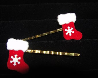 Stocking with Snowflake/Gingerbread Man/Christmas Tree Hair Clips/Bobby Pins/Barrettes