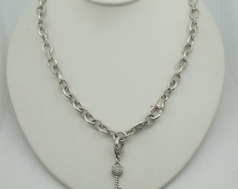 The Key To Her Heart...Solid Sterling Silver Heavy Chain And Removable Key Pendant  #KEYCHN-CN1