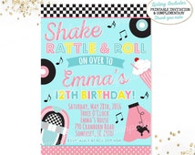 50's Birthday Invitation Fifties Birthday Invitation 50's Diner Invitation Sock Hop Birthday Invitation 50's Birthday Party Fifties Party