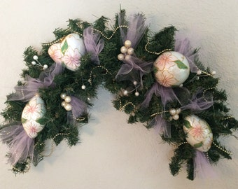 Christmas swag with a Victorian flair,  Christmas swag with Victorian ornaments,  evergreen swag, Christmas pink swag,