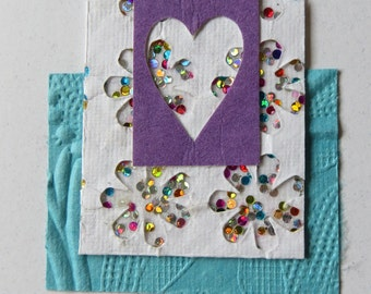 Valentine's card, purple glitter heart.  (l)