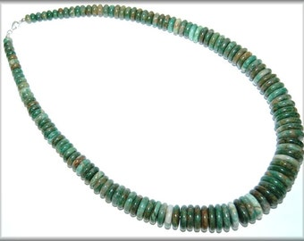 Moss & Mocha Agate ~ Graduated Disc-Lozenge shaped Bead 24 inch Necklace.