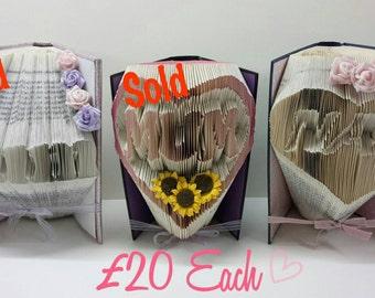 Handmade 'Nan' Folded Book Art