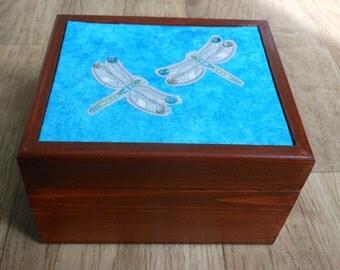 Dragonfly wooden jewellery/trinket/gift/keepsake  box