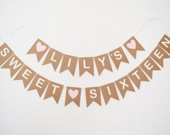 Sweet Sixteen Banner Happy Birthday 16 Bunting, Girls Party Decoration 16th Personalised Name Bunting, Custom Banner, Pink Hearts
