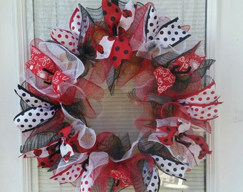 Ladybug Wreath, Lady Bug Wreath, Spring Wreath, Summer Wreath, Everyday Wreath,  Ribbon Wreath, Deco Mesh Wreath