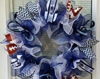 Penn State Wreath, Nittany Lions Wreath, Football Wreath, Lions Wreath, Deco mesh Wreath, Ribbon Wreath, Mesh Wreath