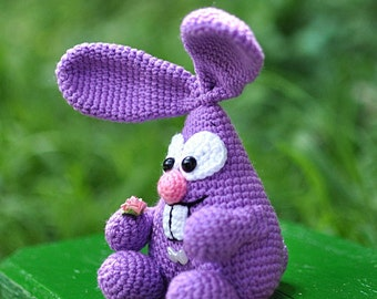 Bunny in a heart shape. Crochet toy. Hare. Rebbit. FREE SHIPPING.