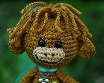 Crazy brown hippie Crochet Monkeys. Crochet toy with long legs.