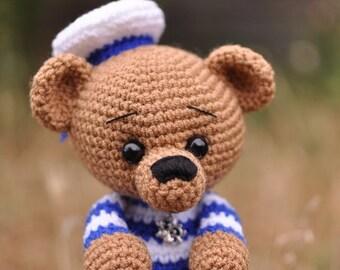 Crochet brown bear sailor . Crochet toy. Teddy bear. Toy for boy and for men.