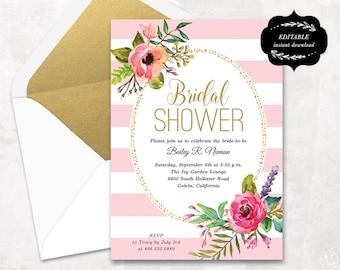 Blush Pink Floral Bridal Shower Invitation Template, Printable Bridal shower Invitation, Instant DOWNLOAD - EDITABLE Text - 5x7, BS004