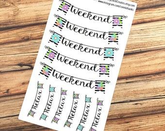 WEEKEND Planner Stickers - URBAN CHIC - Weekend banners - Inkwell Press, Erin Condren, Happy Planner! {#160503}