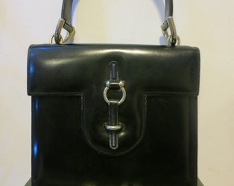 1960s Leather Hand Bag Black Original Vintage