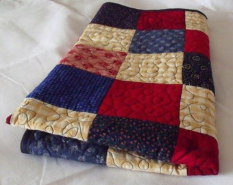 "patchwork quilt, sofa throw, single quilted throw, rustic duvet, quilted blanket, 48"" x 52"""