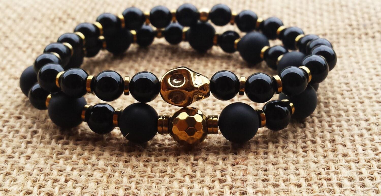 mens bracelet stacks bracelet set tribal bracelet onyx