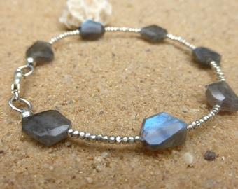 Labradorite Bracelet Sterling Silver Karen Hill Tribe Silver Bracelet Gemstone Jewellery Stacking Boho Minimalist Flashy Blue Artisan