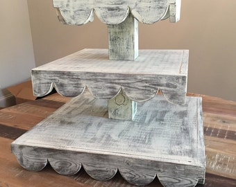3 Tier Cupcake Stand with Scalloped Edges/HOLDS 100 cupcakes