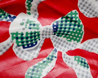 Vintage red green blue large bow tie chintz fabric holiday colors / shiny cotton chintz bows