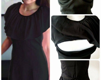 "New Custom-Made Stylish ""Little Black Dress"" Practical Discreet Breastfeeding Nursing Maternity Working Party Dress MamanMode size S M L"