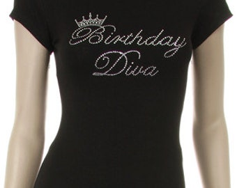 Birthday Diva Rhinestone Iron on Short Sleeve Shirt