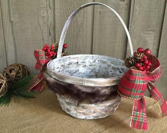 Holiday basket/ flower girl basket/ fur basket/ woodland basket/ rustic basket/ rustic woodland basket/ Christmas decor/ woodland decor