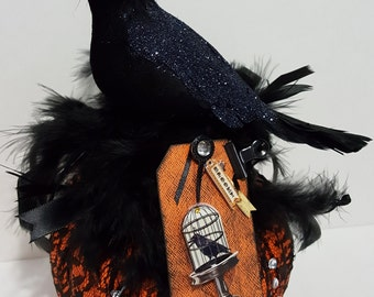 Halloween Altered Pumpkin Raven Lace Feathers Decoration
